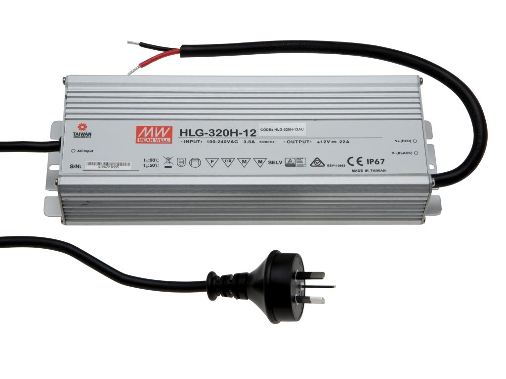 Mean Well 320W Weatherproof Driver 12V DC IP67 HLG-320H-12